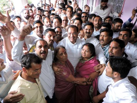 Yashpal Arya Hugged Dr. Indira Hridyesh and Sumitra Prasad, just after winning Nainital Jila Panchayat President Election