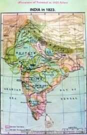 1823 के मानचित्र में नैनीताल की मौजूदगी